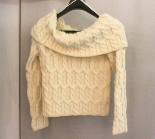 boat neck aran sweater