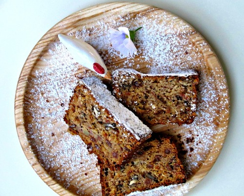 banana bread with walnuts and sultanas